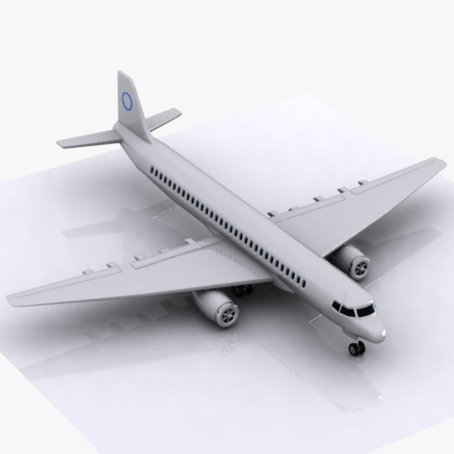 Cartoon Commercial Aircraft royalty-free 3d model - Preview no. 3