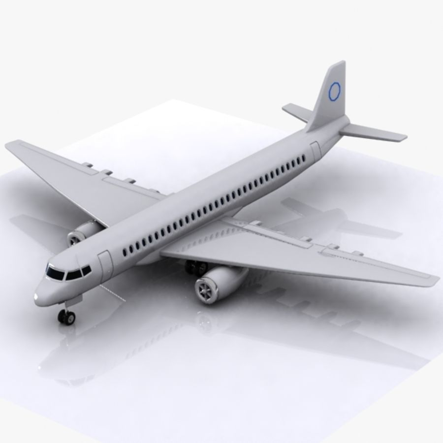 Cartoon Commercial Aircraft royalty-free 3d model - Preview no. 1