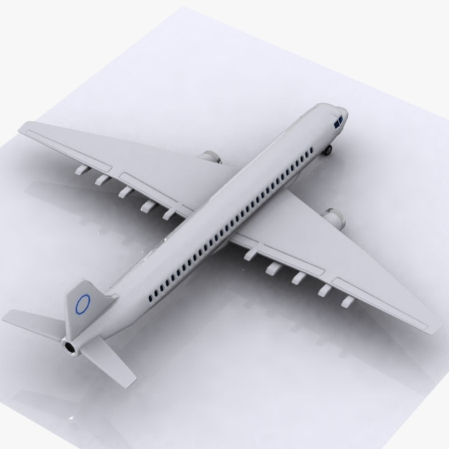 Cartoon Commercial Aircraft royalty-free 3d model - Preview no. 4