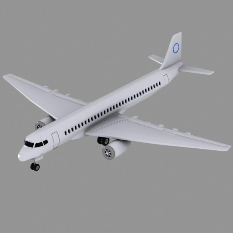 Cartoon Commercial Aircraft royalty-free 3d model - Preview no. 2