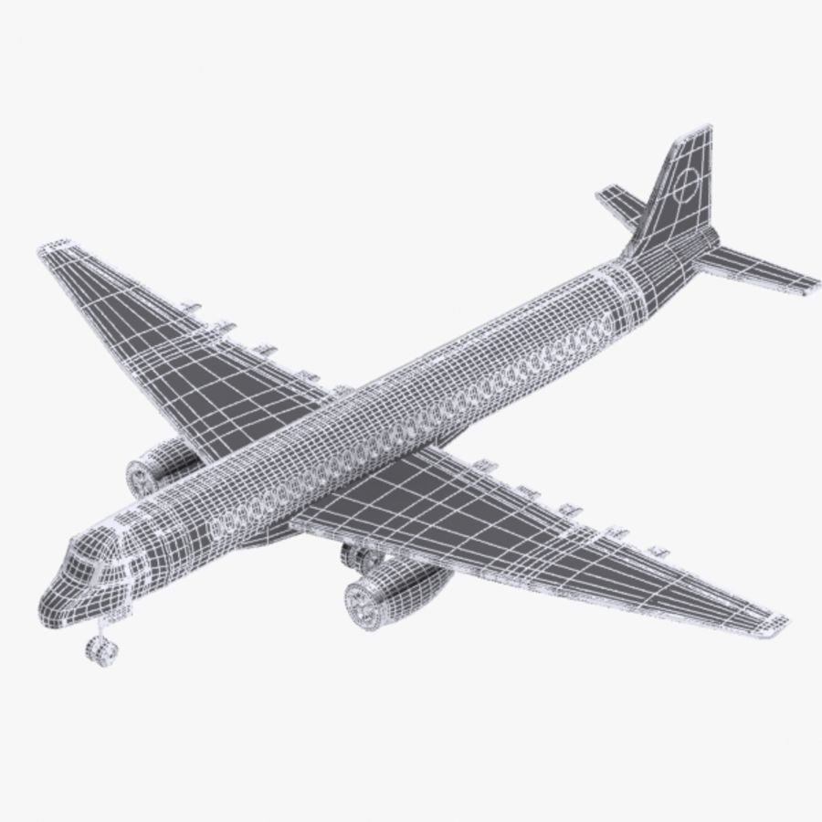 Cartoon Commercial Aircraft royalty-free 3d model - Preview no. 8