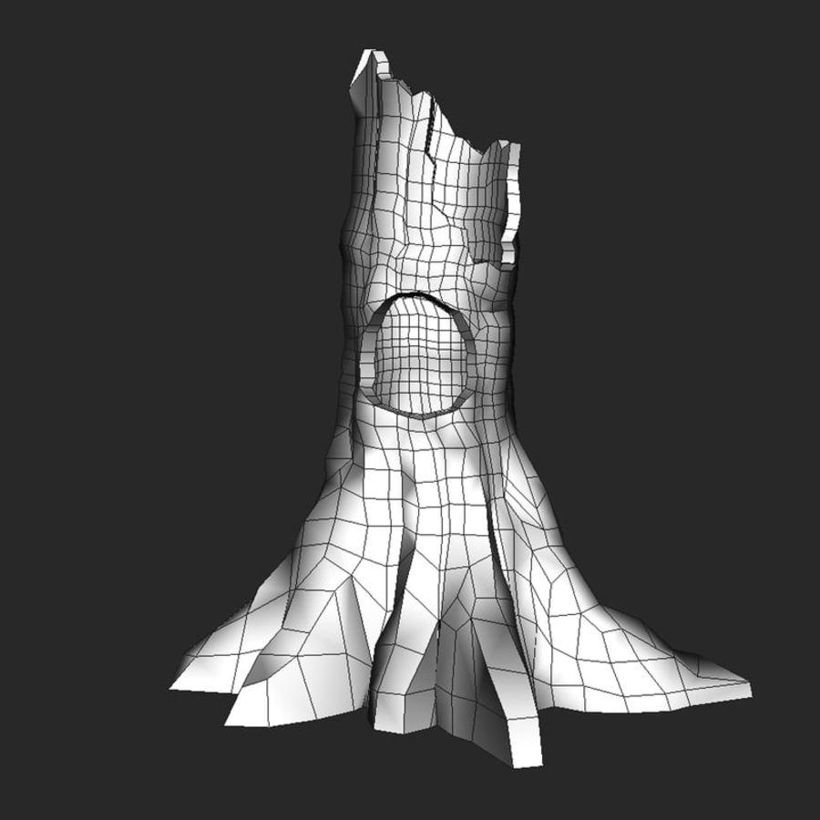 Coto de árvore caído oco royalty-free 3d model - Preview no. 3