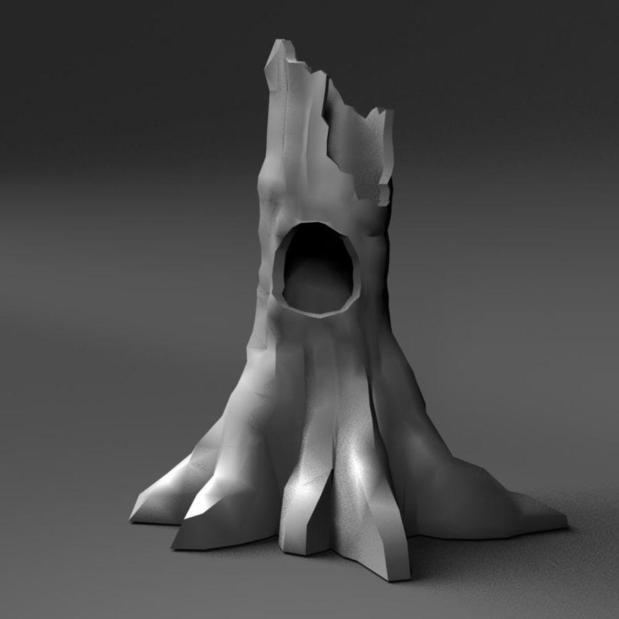 Coto de árvore caído oco royalty-free 3d model - Preview no. 2