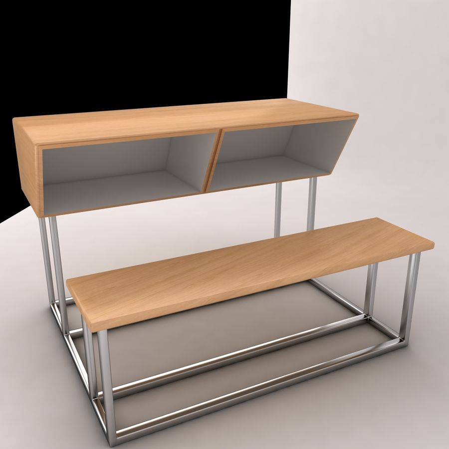 Desk Bench royalty-free 3d model - Preview no. 1