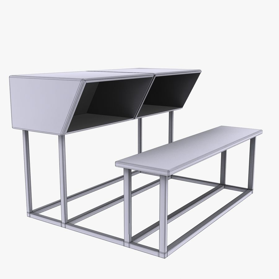 Desk Bench royalty-free 3d model - Preview no. 5
