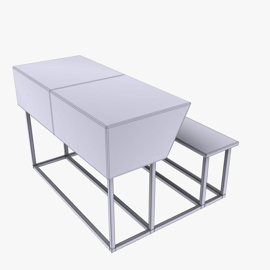 Desk Bench royalty-free 3d model - Preview no. 6