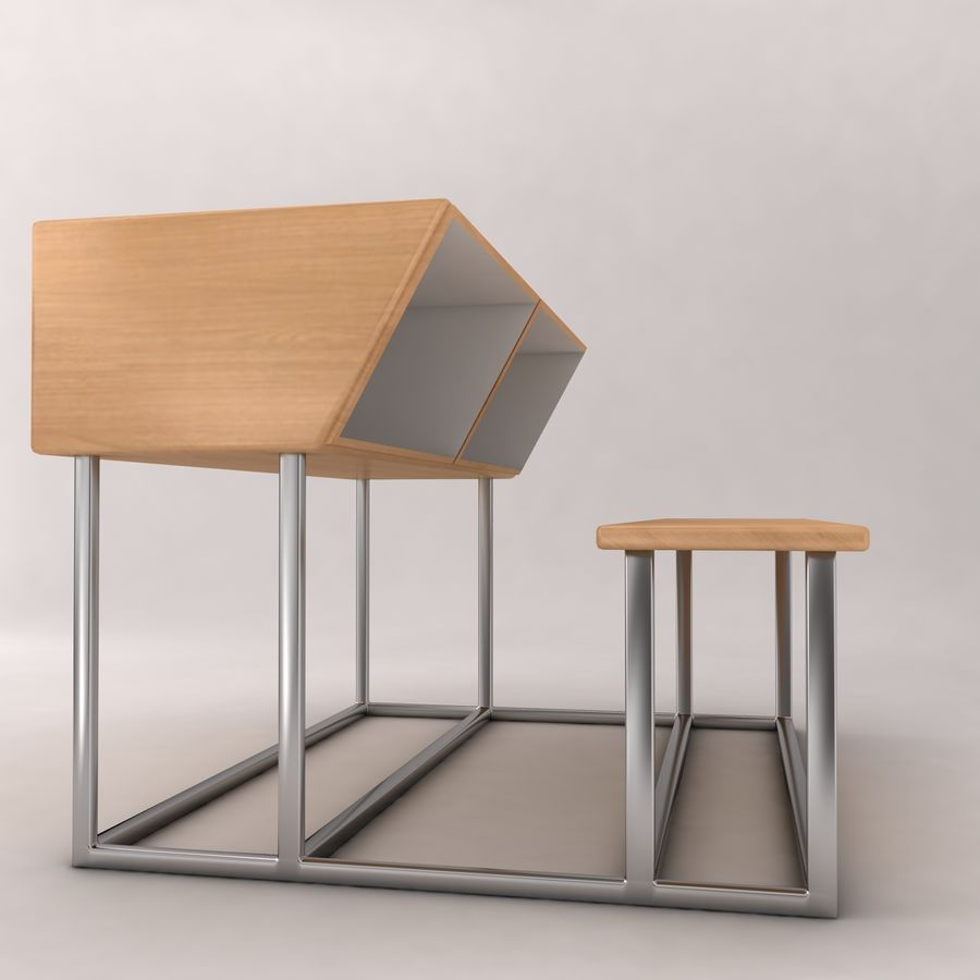 Desk Bench royalty-free 3d model - Preview no. 2