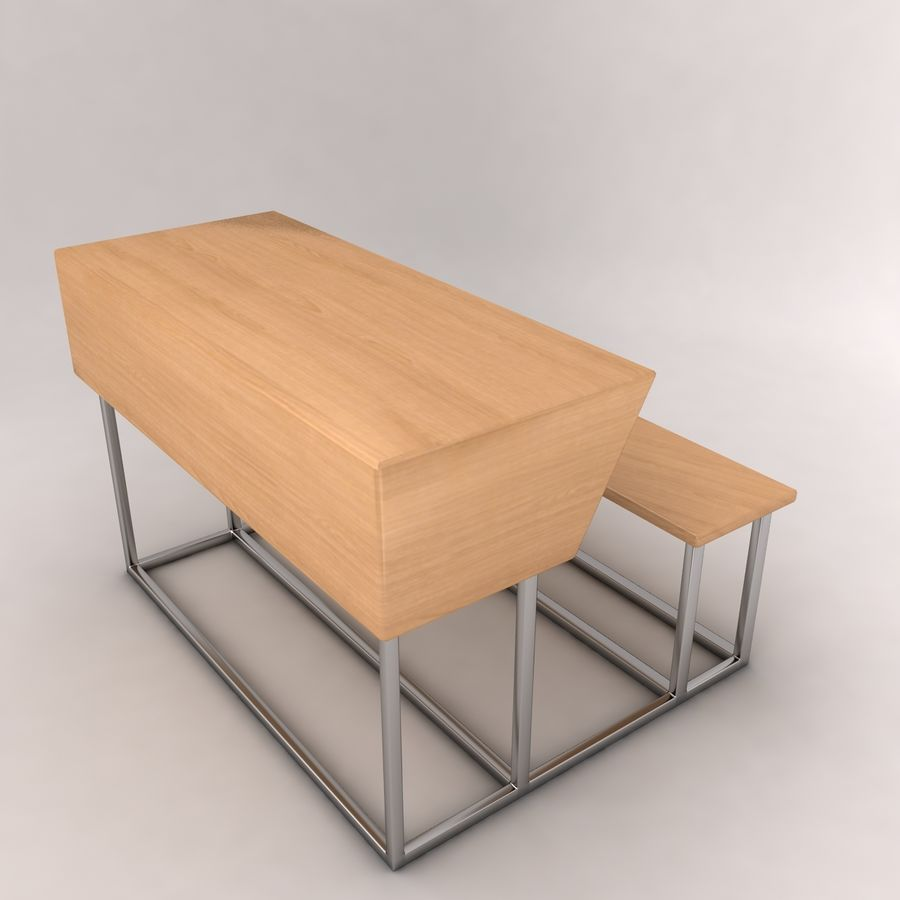 Desk Bench royalty-free 3d model - Preview no. 3