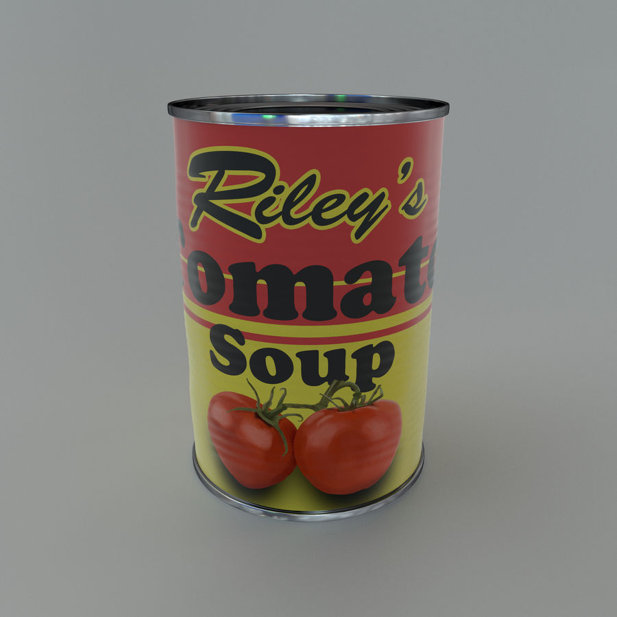 Tinned tomato soup tin can royalty-free 3d model - Preview no. 2