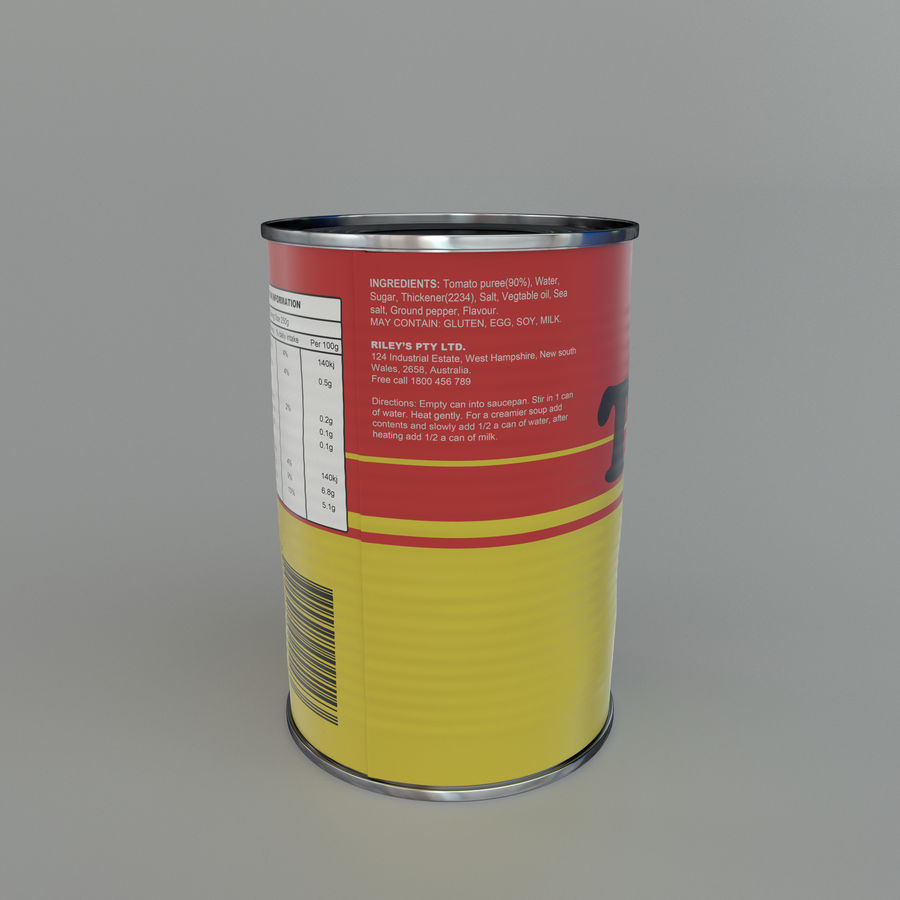 Tinned tomato soup tin can royalty-free 3d model - Preview no. 5
