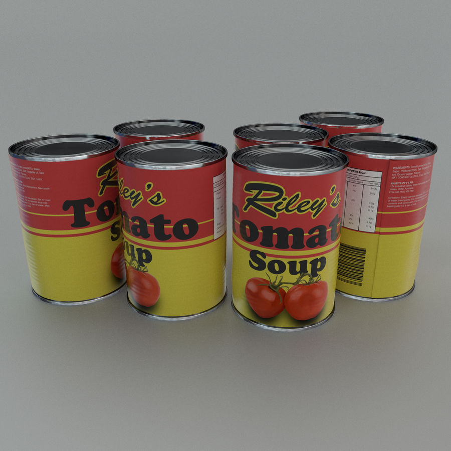 Tinned tomato soup tin can royalty-free 3d model - Preview no. 1