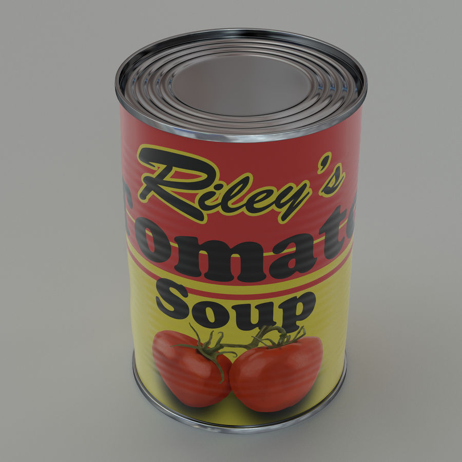 Tinned tomato soup tin can royalty-free 3d model - Preview no. 3