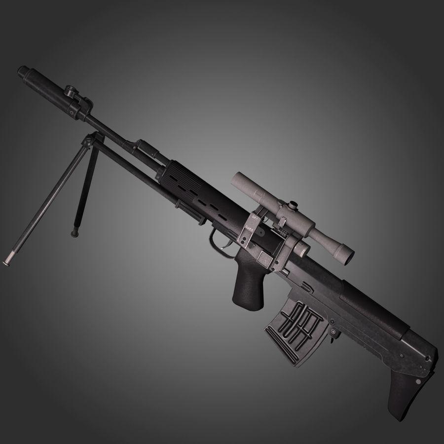 Sniper Rifle Dragunov SVU royalty-free 3d model - Preview no. 8