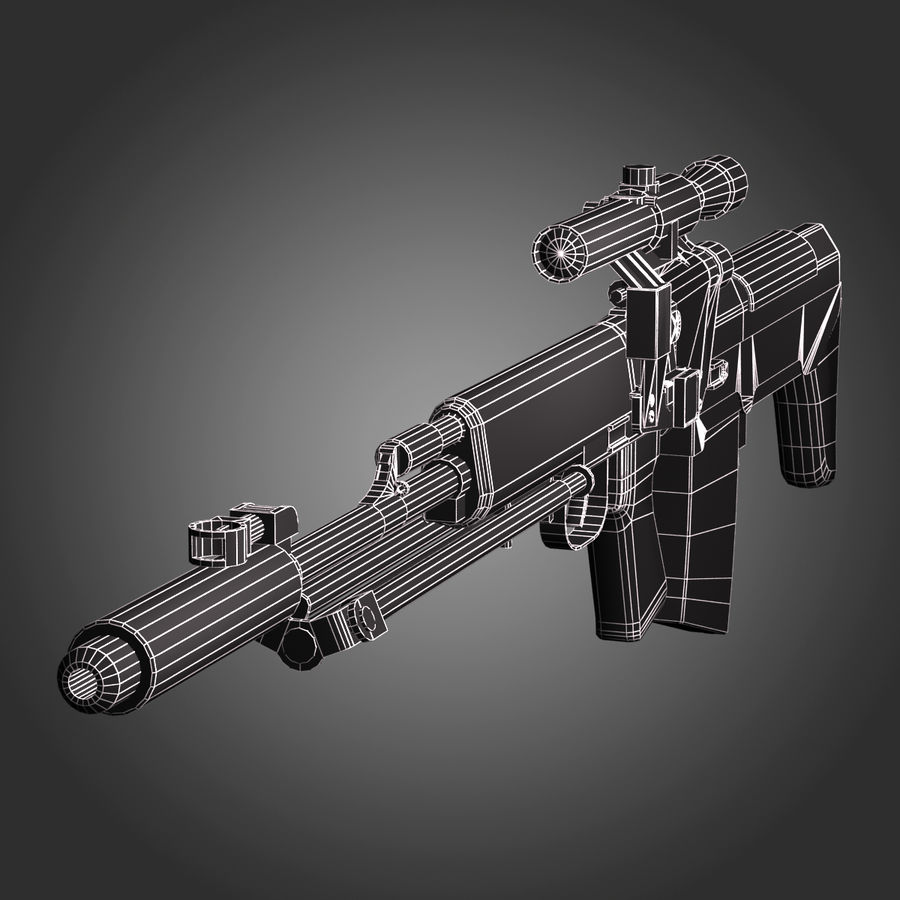Sniper Rifle Dragunov SVU royalty-free 3d model - Preview no. 3