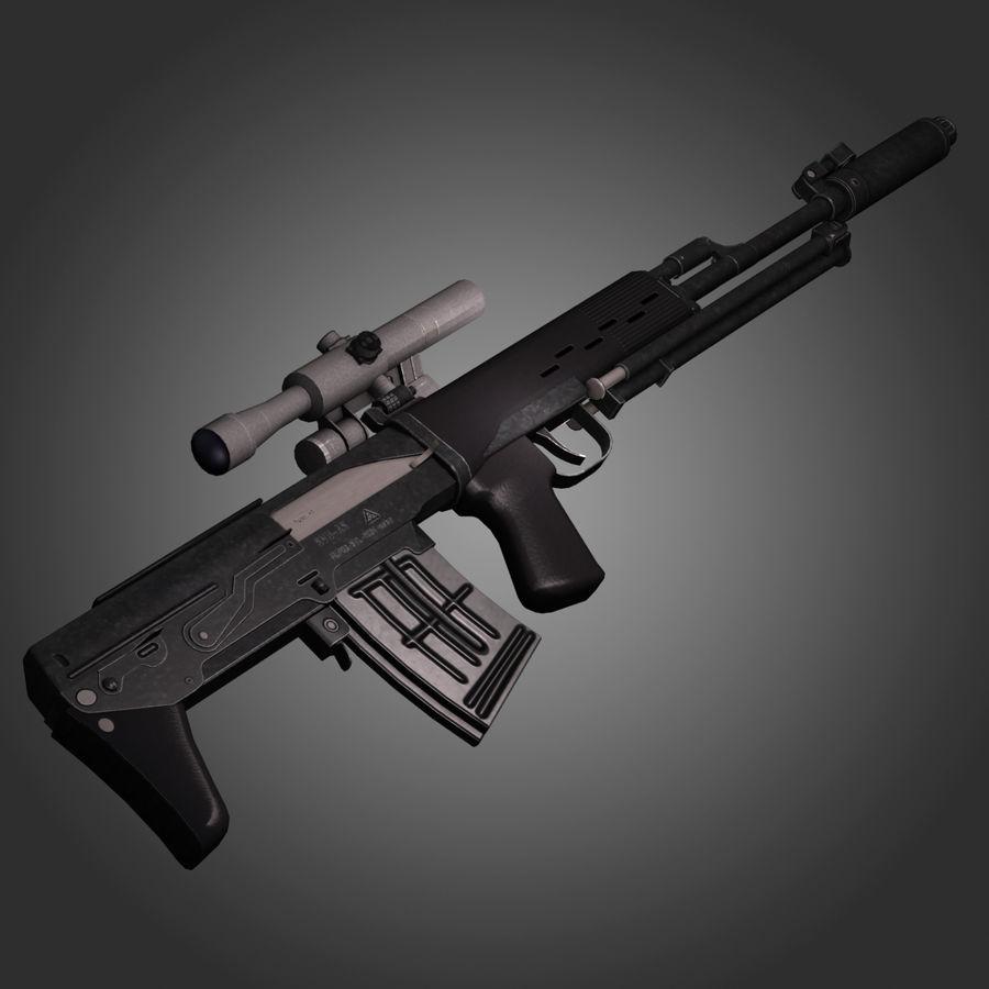 Sniper Rifle Dragunov SVU royalty-free 3d model - Preview no. 4