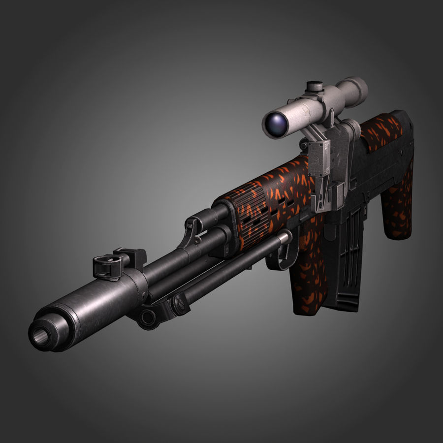 Sniper Rifle Dragunov SVU royalty-free 3d model - Preview no. 2