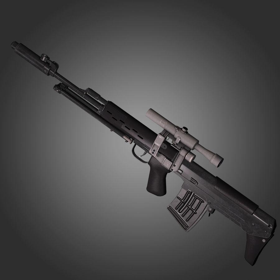 Sniper Rifle Dragunov SVU royalty-free 3d model - Preview no. 7