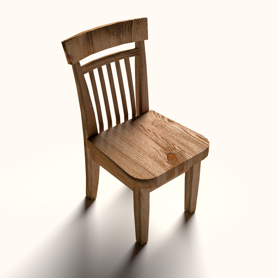 Wooden Chair Low Poly Royalty Free 3d Model   Preview No. 1