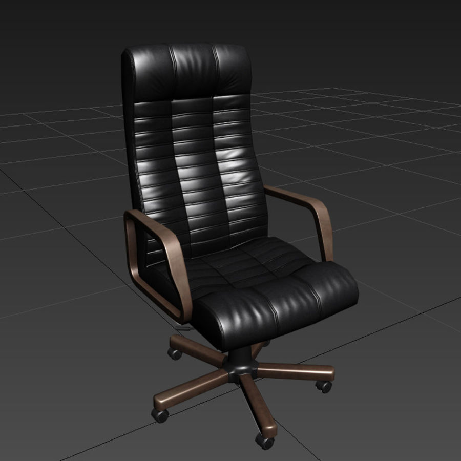 Armchair boss black brown royalty-free 3d model - Preview no. 2