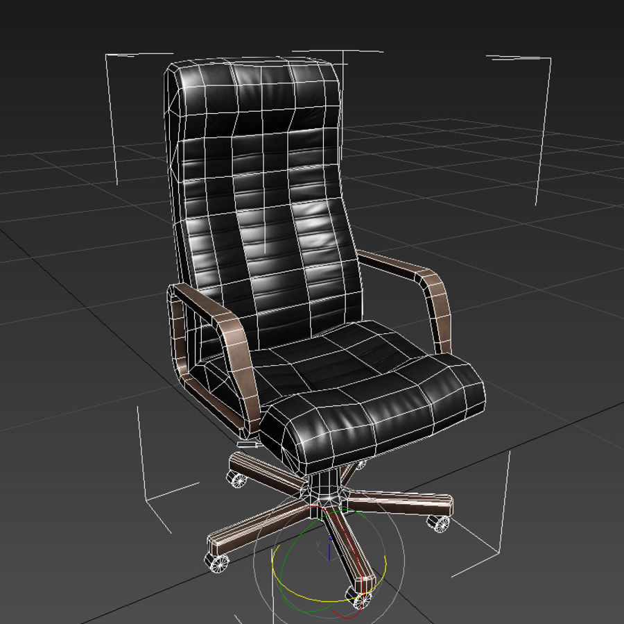 Armchair boss black brown royalty-free 3d model - Preview no. 6