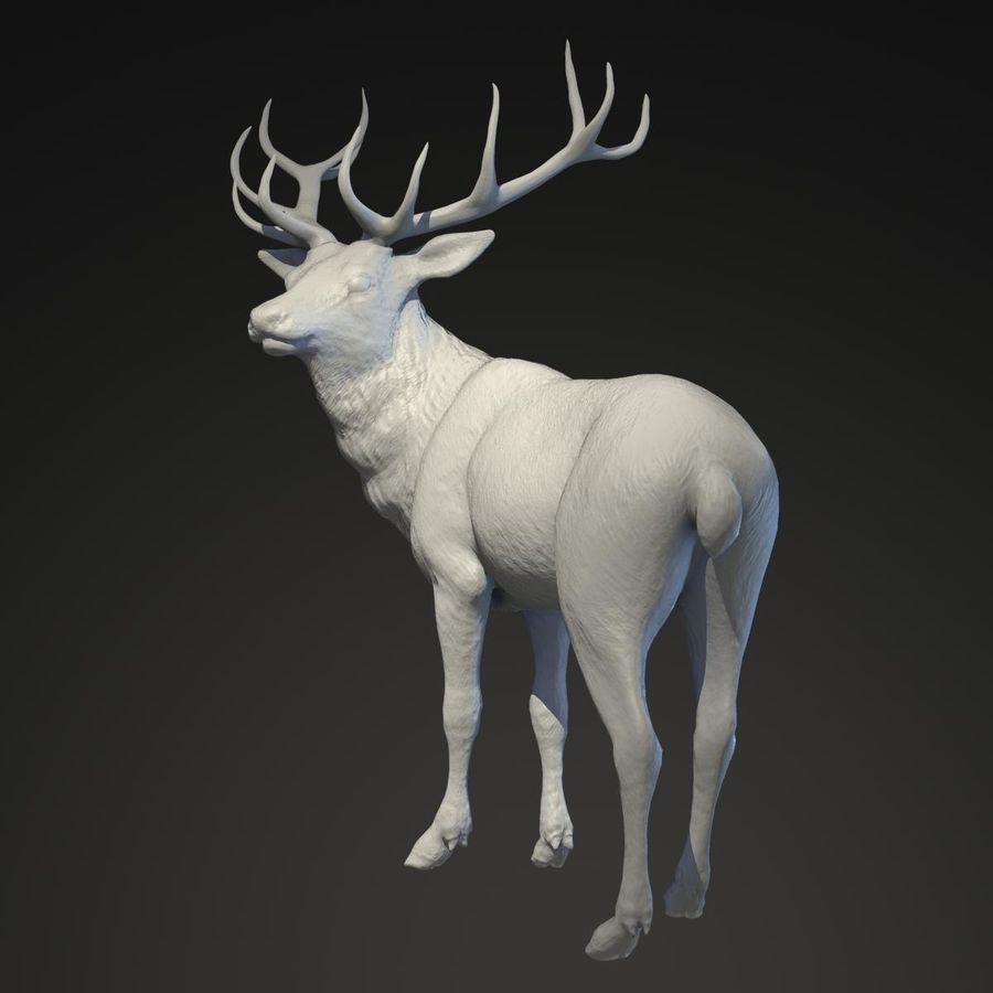 Deer Statue royalty-free 3d model - Preview no. 4