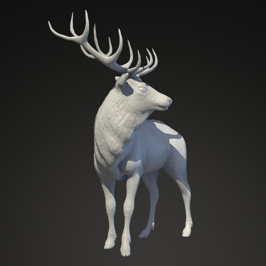 Deer Statue royalty-free 3d model - Preview no. 2