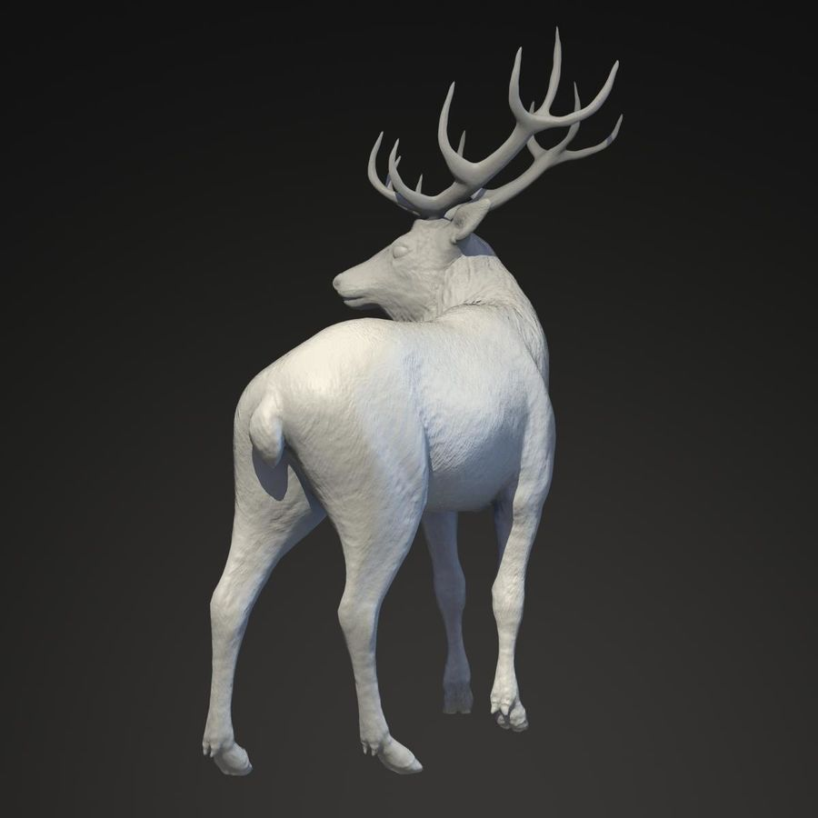 Deer Statue royalty-free 3d model - Preview no. 3