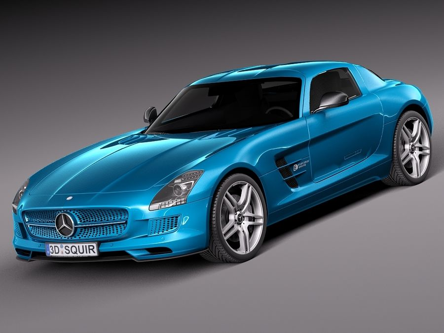 Mercedes SLS AMG Coupe Electric Drive 2014 royalty-free 3d model - Preview no. 1