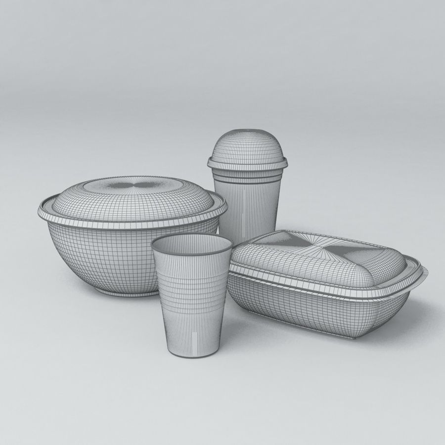 Food Drink Containers royalty-free 3d model - Preview no. 2