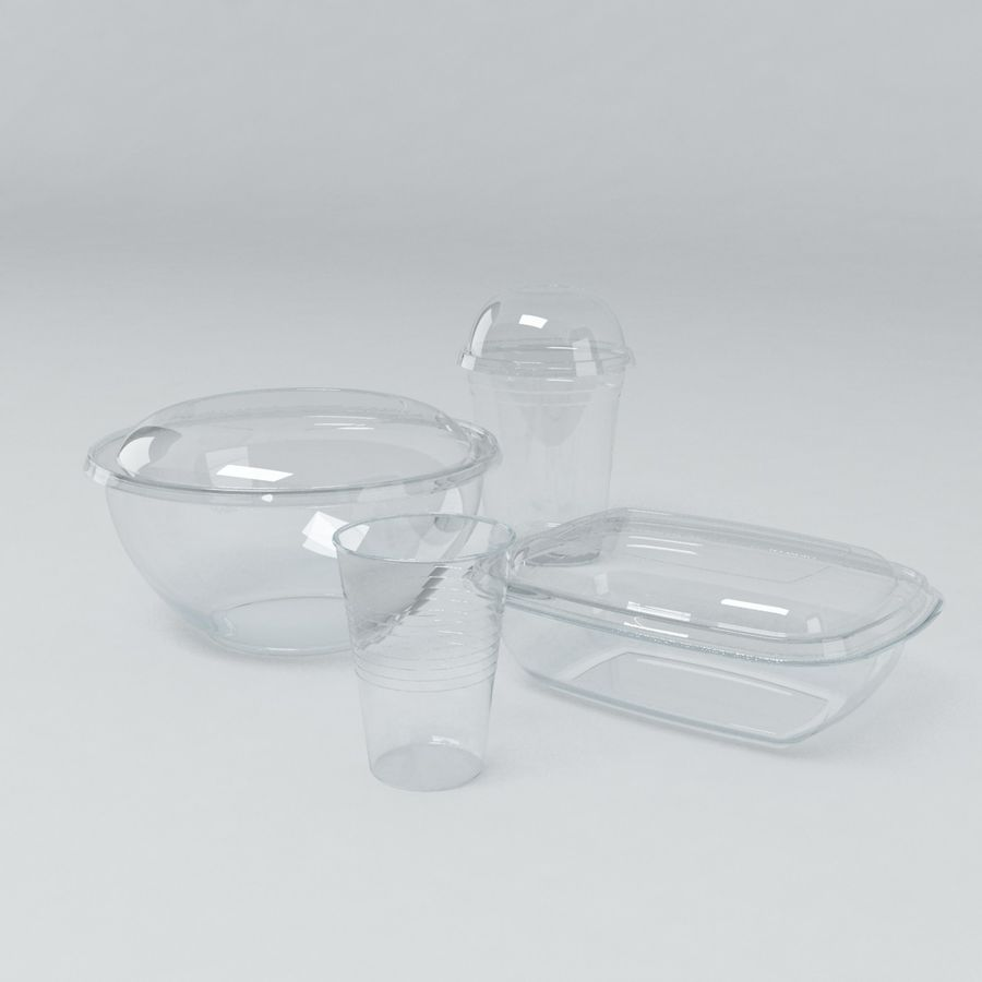 Food Drink Containers royalty-free 3d model - Preview no. 1