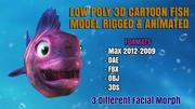 CARTOON FISH低聚3D模型,带有动画和动画 3d model