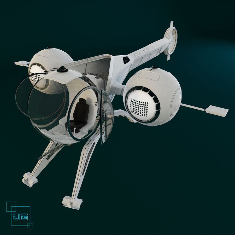 Space  ship royalty-free 3d model - Preview no. 3