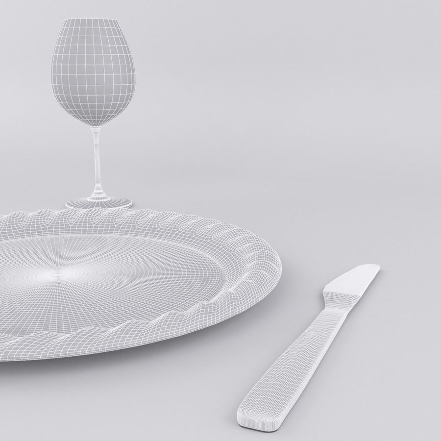Plate Set royalty-free 3d model - Preview no. 8