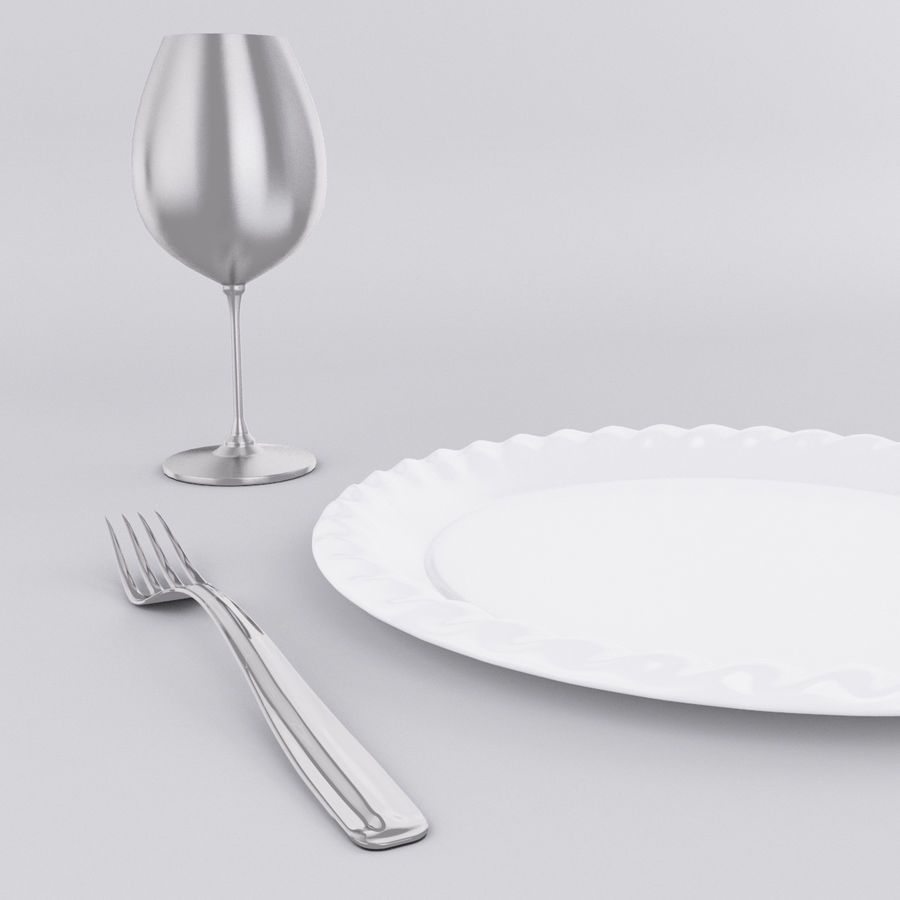 Plate Set royalty-free 3d model - Preview no. 2