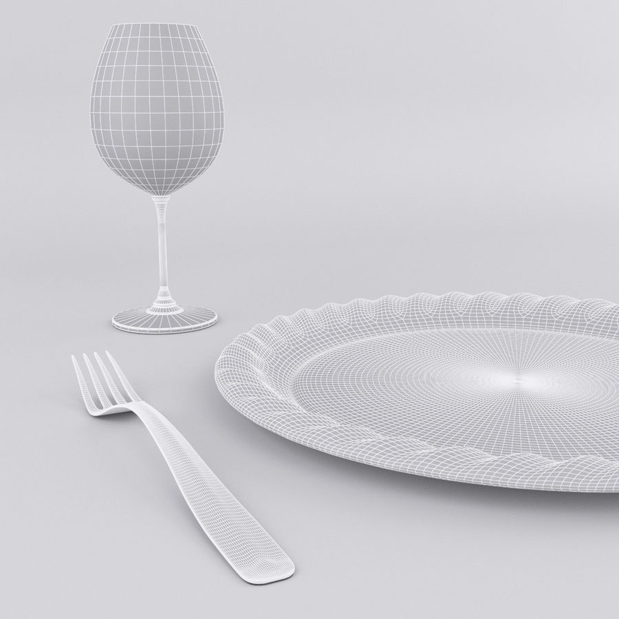 Plate Set royalty-free 3d model - Preview no. 6