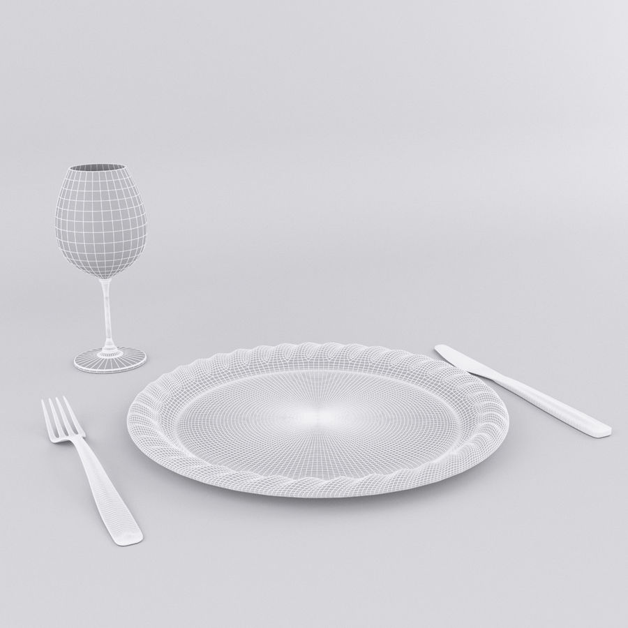 Plate Set royalty-free 3d model - Preview no. 7