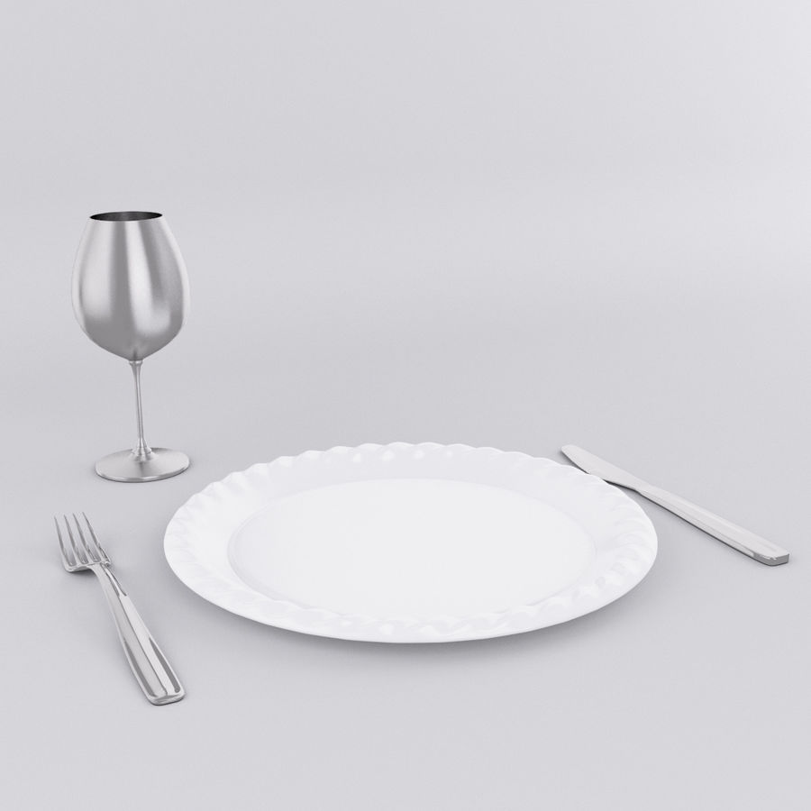 Plate Set royalty-free 3d model - Preview no. 3