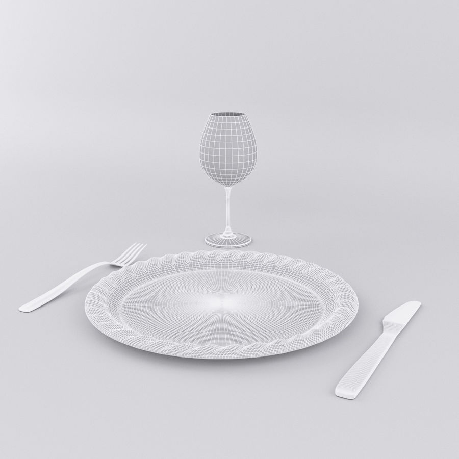 Plate Set royalty-free 3d model - Preview no. 5