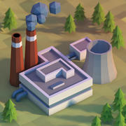 Lowpoly power plant 3d model