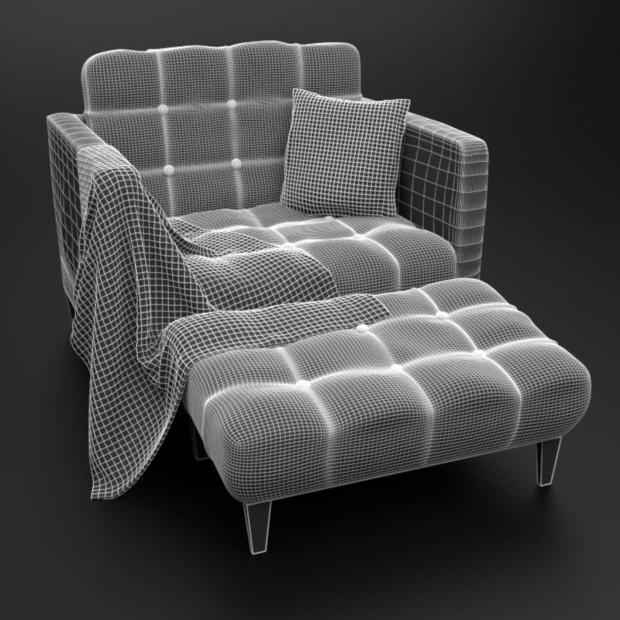Modern läder möbel uppsättning royalty-free 3d model - Preview no. 16