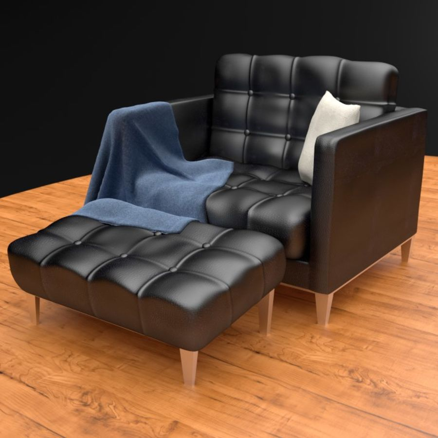 Modern läder möbel uppsättning royalty-free 3d model - Preview no. 8