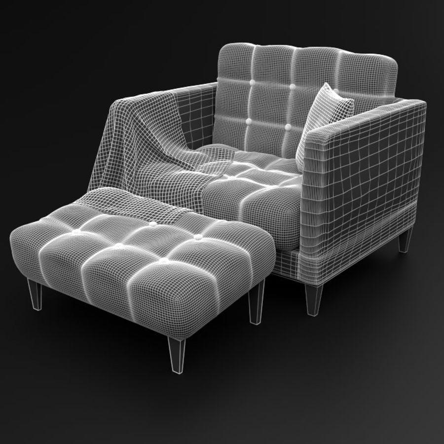 Modern läder möbel uppsättning royalty-free 3d model - Preview no. 14