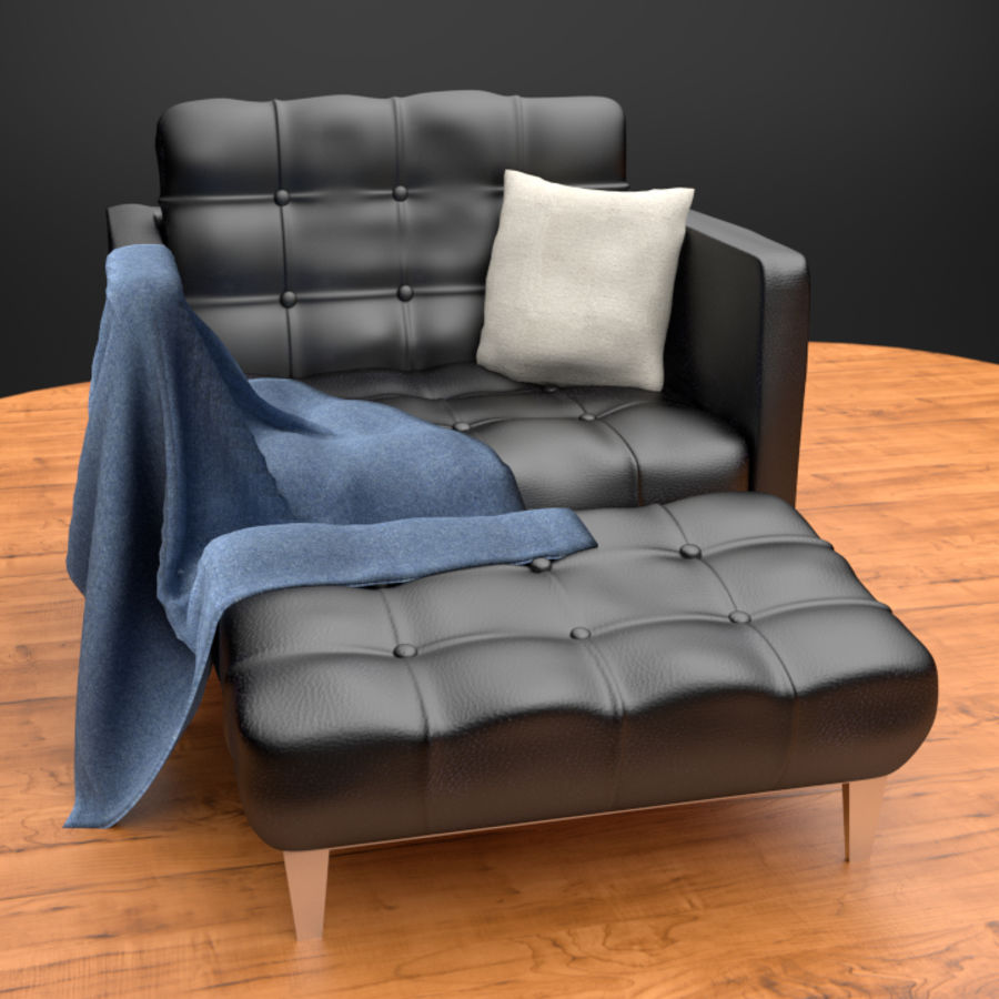 Modern läder möbel uppsättning royalty-free 3d model - Preview no. 6