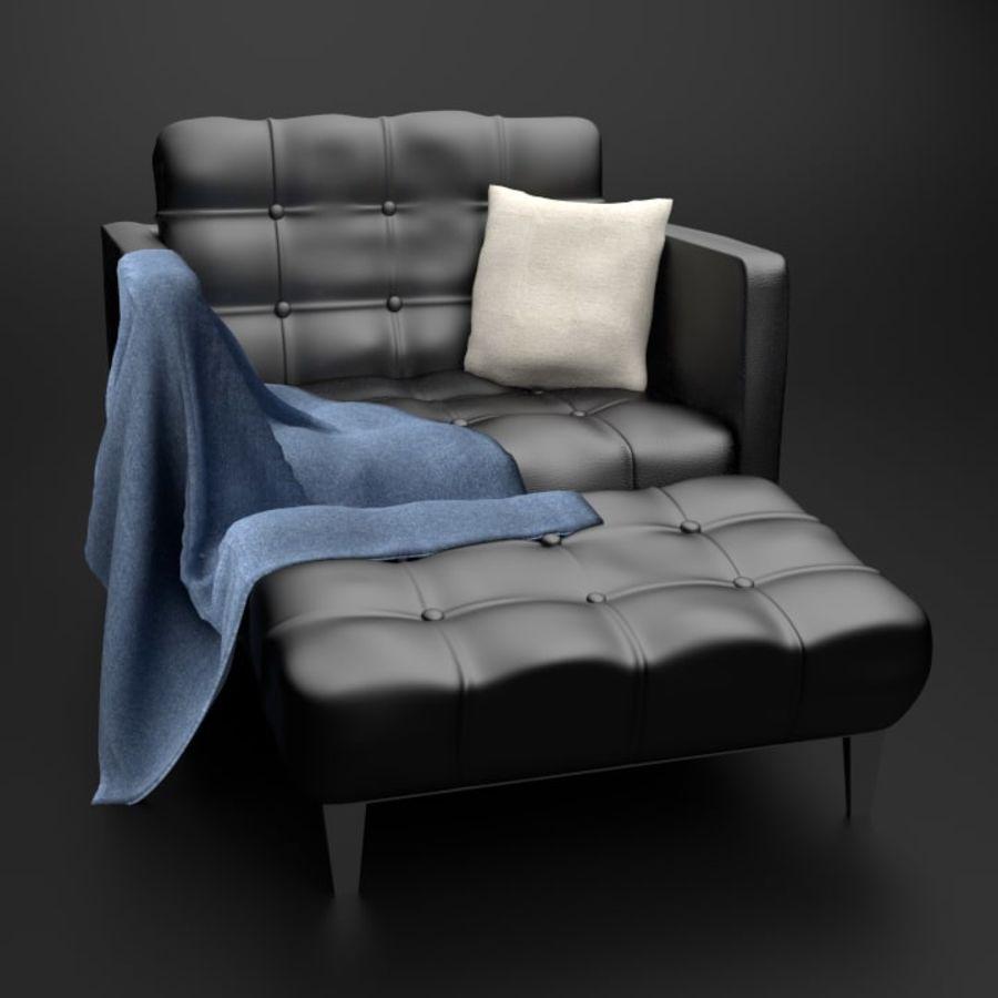 Modern läder möbel uppsättning royalty-free 3d model - Preview no. 5