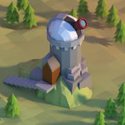 Observatory low poly 3d model