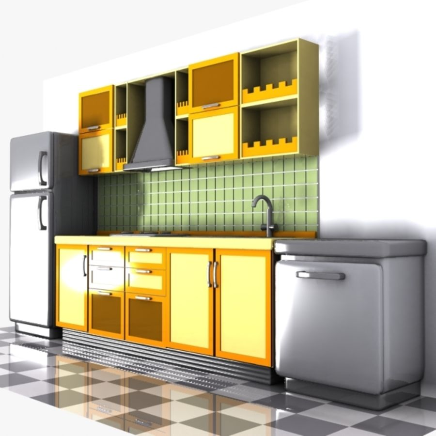 Cartoon Kitchen Interior royalty-free 3d model - Preview no. 3