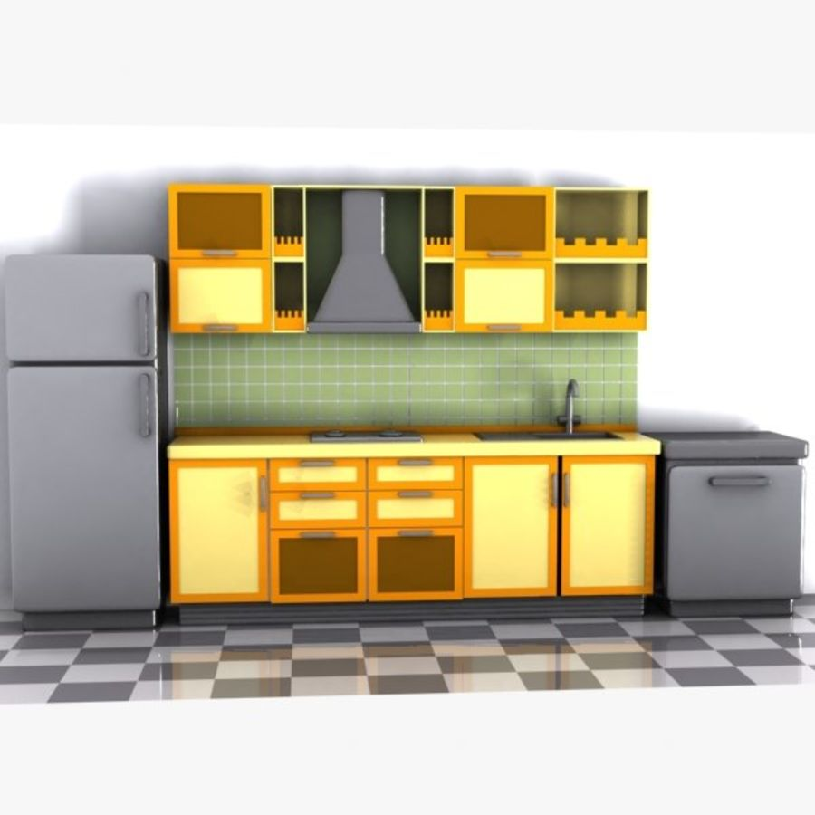 Cartoon Kitchen Interior royalty-free 3d model - Preview no. 6