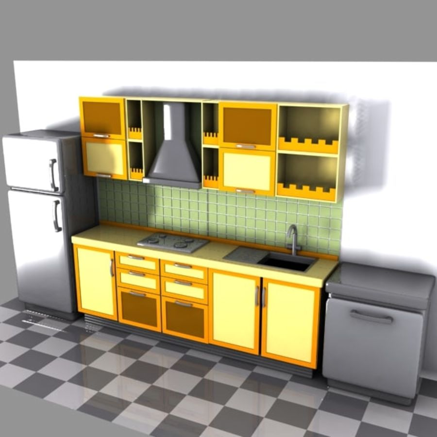 Cartoon Kitchen Interior royalty-free 3d model - Preview no. 2