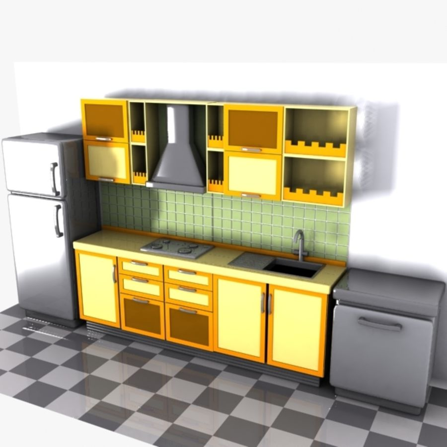 Cartoon Kitchen Interior 3d Model 15 Obj Oth Max Fbx 3ds