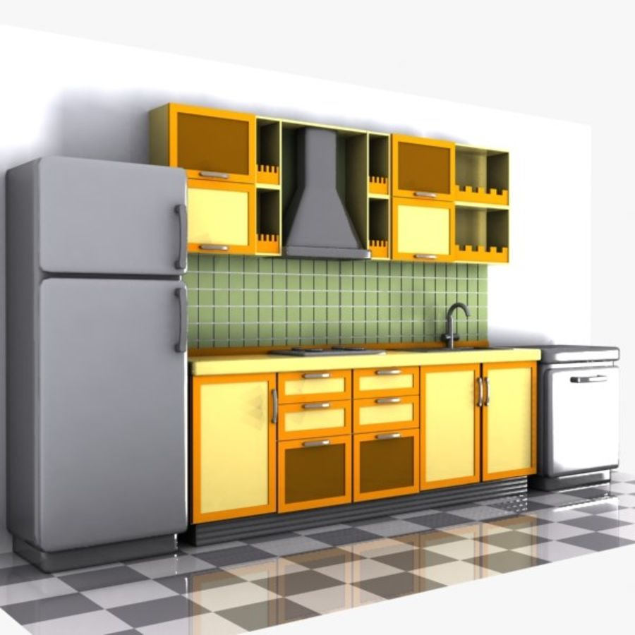 Cartoon Kitchen Interior royalty-free 3d model - Preview no. 4